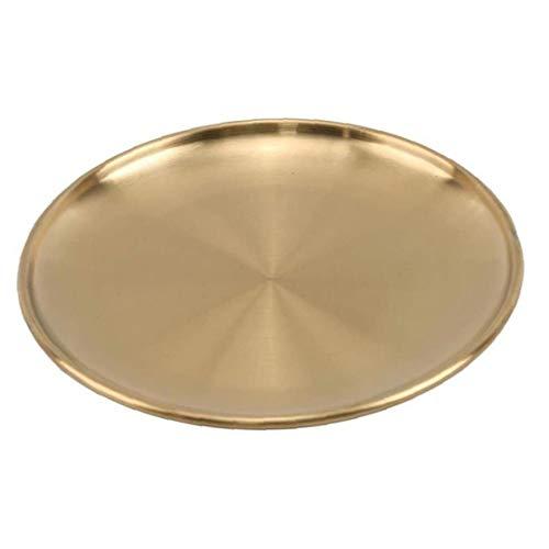 Platte Speiseplatte Edelstahl Goldene Teller rundes Tablett European Style Ernährung Küchenhelfer Lagerung für Kuchen Western Steak Make-up Schmuck 14cm