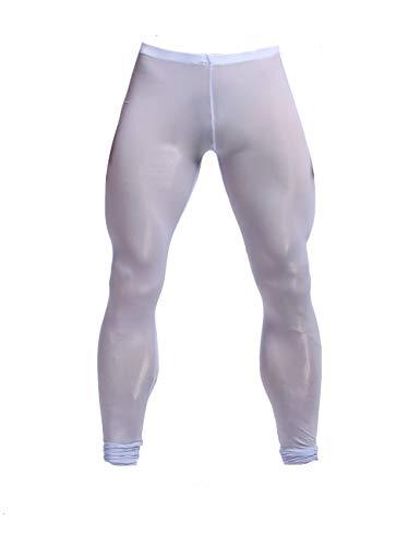 K-Men Men Sexy Ice Silk Long Underwear Slim Fit Leggings Tight Pants Sky Blue XL