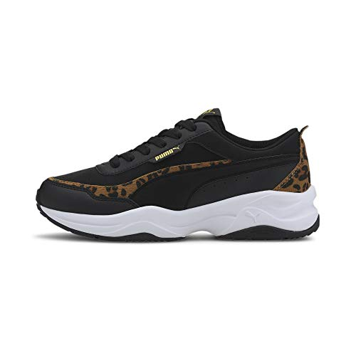 PUMA Cilia Mode Leo, Zapatillas para Mujer, Negro Black Black Team Gold White, 39 EU