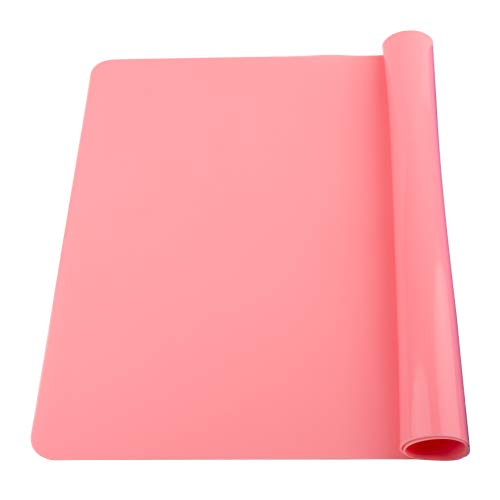 Extra Large Silicone Table Mat, Silicone Mat for Crafts Kids Dinner Placemat Desk Countertop Protector Heat Resistant Baking Mat Reusable Dough Rolling Pad Fondant Mat, Pink (23.62x15.75 inches)