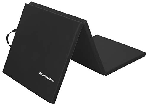"""BalanceFrom 1.5"""" Thick Tri-Fold Folding Exercise Mat with Carrying Handles for MMA, Gymnastics and Home Gym Protective Flooring (Black)"""
