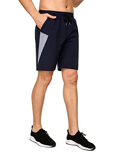 Sykooria Pantalones Cortos Deportivos para Hombre Tejido Reflectante Shorts Deportivos de Secado Rápido para Correr Shorts de Running con Rayas Reflectantes Pantalones Cortos de Baloncesto de Playa