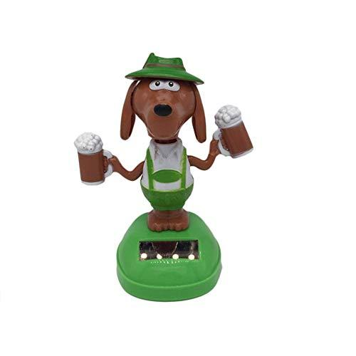 Ljourney Solar Wackelfigur Solarfigur tanzendeTanzende Tierfigur Dekofigur Spielzeug Auto Dashboard Dekoration, Hund/Einhorn