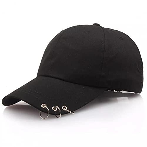 xiwei Gorra de Beisbol Gorra de béisbol de Hip Hop para Mujer con Anillos Circulares Sombreros para Hombres Mujeres Unisex Sombrero de papá Estilo Coreano Ajustable Clásico Sombrero para