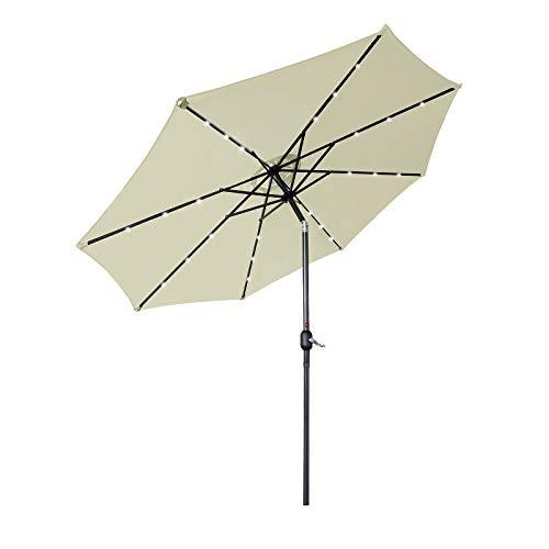 Aufun Sonnenschirm 300cm mit kurbel und Solarbetriebene Weiß LED UV Schutz Neigbar 40+ - Beige Alu Balkon Terrassenschirm Marktschirm Gartenschirm (Beige)