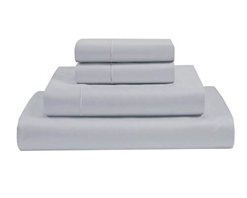 Clay Bedding 4 Piece Bed Set With Duvet Cover, Fitted Sheet And Pillow Cases duvet Set And Sheet Duvet Set 100% Egyptian Cotton - Light Grey- Single