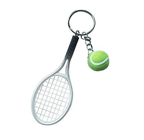 Sports World Tennisschläger Schlüsselanhänger mit Ball Schläger Tennis in grau | Wimbledon | Geschenk | Tennisball