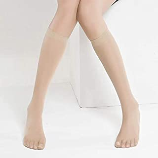 2 Pair black & beige Women Sexy Knee High Socks Thin Mesh Nylon Stockings Hosiery Summer Fashion Girls Ladies Transparent ...