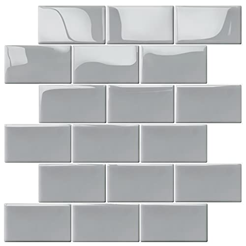 "Uoisaiko Thicker Peel and Stick Wall Tiles, Self Adhesive Brick Backsplash Subway Tile Backsplash, Stick on Tiles Kitchen Backsplash 12""x12"", 10 Sheets"