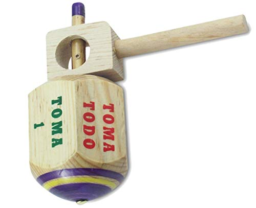 MoreFiesta Jumbo Pirinola Toma Todo Game Set - Hand Painted Wood 5 Inches Tall Spinning Tops Traditional Mexican Game in Spanish, for Cinco De Mayo Party