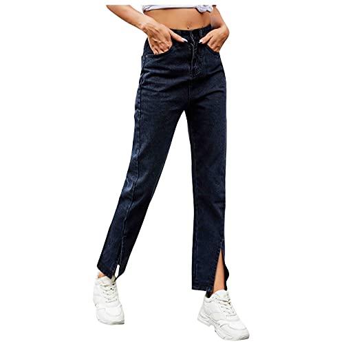Ghemdilmn Pantalones vaqueros largos inferiores para chico y mujer, pantalones ajustados, informales, elásticos, rectos, ropa de calle, vaqueros desgastados, Negro , XL