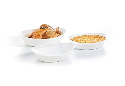 Luminarc Smart Cuisine Fuentes para Horno, Vidrio Opal, Blanco, 38/32/28cm