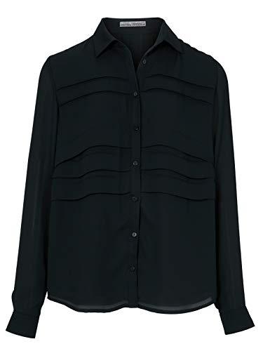 Ashley Brooke Bluse Hemd-Bluse Figurumspielende Damen Langarm-Bluse mit Falteneinsatz Freizeit-Bluse Ausgeh-Bluse Schwarz, Größe:38