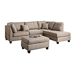 Poundex F7605 Chaise Sectional Set -best sofa for back pain