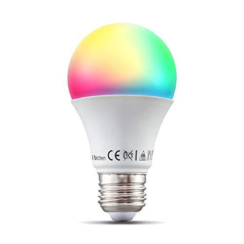 B.K.Licht I LED E27 Wi-Fi Lampe I 9 Watt I RGB CCT dimmmbar I App- Sprachsteuerung Alexa Google Home I iOS & Android I WLAN Glühbirne I Smartes Leuchtmittel