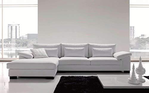 Sofá de 2 plazas, chaise longue de tela blanca