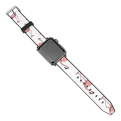 Compatible con Apple Watch Band Correa de reloj Flamingo 38mm 40mm Mujeres Hombres Niñas Niños PU Correa de repuesto para iWatch ries 5 4 3 2 1