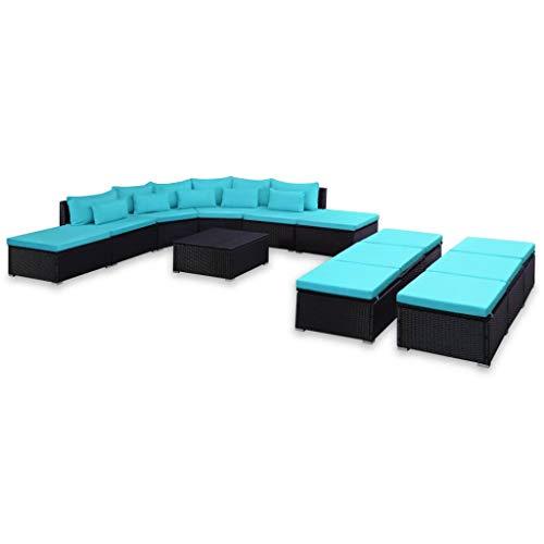 Festnight 9-TLG. Garten-Sofagarnitur | Gartensofa-Set | | Polyrattan Lounge Set | Lounge Sofa Garnitur | Rattan Gartenmöbel Gartenset | Garten Sitzgruppe | Gartengarnitur | Blau Poly Rattan