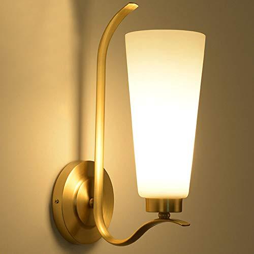 LEDWandleuchte cobre de color de la pared de color dorado iluminación E27 portalámparas material de latón de cobre luz cálida Höhe35cm Breite13cm (3000k) Diseño retro Son dormitorios de Vida