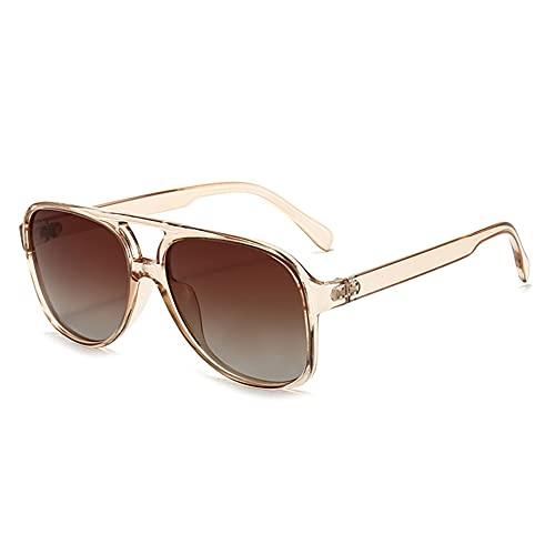 RUNHUIS Gafas de sol polarizadas para hombre y mujer, estilo retro de los años 70, estilo aviador, Té transparente,
