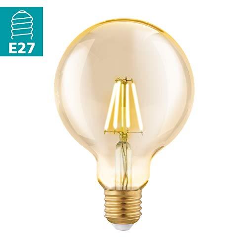 EGLO LED E27 Lampe, Amber Vintage Glühbirne, LED Globe für Retro Beleuchtung, 4 Watt (entspricht 30 Watt), 330 Lumen, E27 LED warmweiß, 2200 Kelvin, LED Leuchtmittel, Edison Glühbirne G95, Ø 9,5 cm