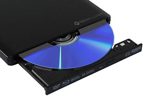 techPulse120 Esterno UHD USB 3.1 4K-Ultra HD Masterizzatore Lettore Blu-ray Blue BD Player BDXL Burner per PC USB-C M-Disc lettori BluRay 4K USB UltraHD nativo Alu Nero