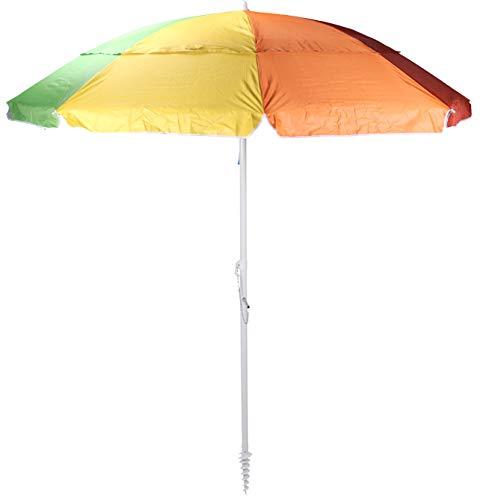 Spetebo Sonnenschirm bunt 220 cm inkl. Bodenhülse - 50+ UV Schutz - Strandschirm Gartenschirm Schirm mit Knickgelenk