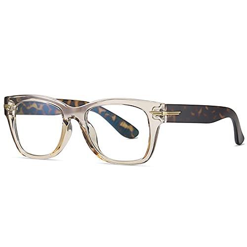 Gafas De Sol Hombre Mujeres Ciclismo Gafas Cuadradas Vintage para Mujer, Montura De Lentes Transparentes A La Moda, Montura para Hombres, Gafas-Champagne_Leopard