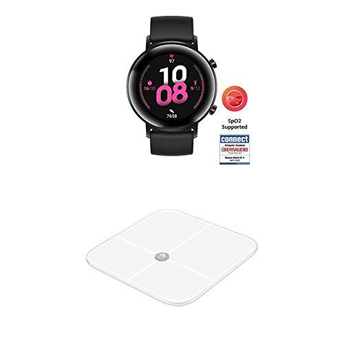 HUAWEI Watch GT 2 Smartwatch (42 mm Full-Color-AMOLED Touchscreen, SpO2-Monitoring, Herzfrequenzmessung) Night Black [Exklusiv +5 EUR Amazon Gutschein] + Körperwaage, weiß