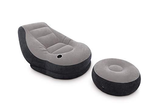 Intex Aufblasmöbel Ultra Lounge, Grau, 102 x 137 x 79 cm / Ø 64 x 28 cm