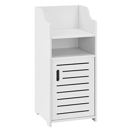 [en.casa] Mueble para baño de Pared Skara 72 x 32 x 32 cm Mueble Auxiliar para baño Universal 1 Compartimento de Armario y 2 Áreas de Almacenamiento Abiertas WPC Blanco