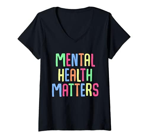 Mujer apoyo para la concienciación sobre depresión de salud mental Camiseta Cuello V