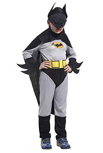 Maat m - 5/6 jaar - kostuum - vermomming - carnaval - halloween - vleermuisman - superheld - grijze kleur - kind batman