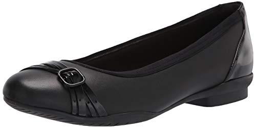 Clarks Sara Tulip, Zapatos Tipo Ballet para Mujer, Combi de Charol de Cuero Negro, 42 EU