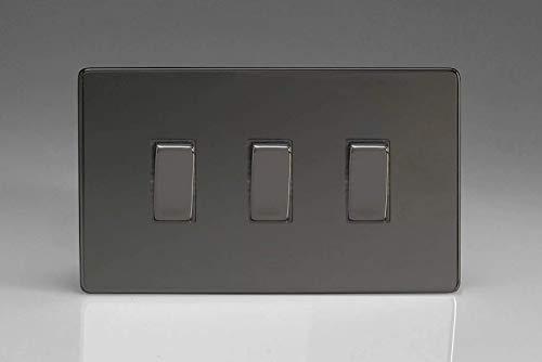 Varilight 3-Gang 10A 1- or 2-Way Rocker Light Switch (Twin Plate) Iridium XDI93S