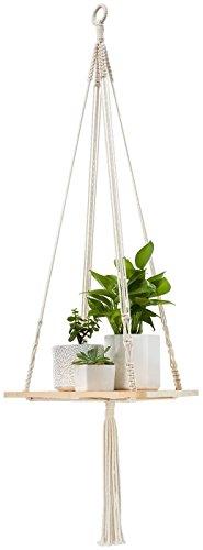 Mkouo Makrame-Regal Pflanzenaufhänger Hängendes Pflanzgefäß für Innen Korbhalter 114cm