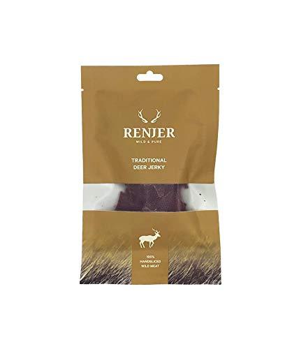 Renjer - Carne seca de Ciervo - snack tradicional proveniente de Suecia, saludable y natural, 70{805a259ba0f99a872c6810ae735bea61ccb0bd4d66adc198a02d2d73ebf7305b} proteína, sin azúcar, bajo en grasas, ideal para deportistas y actividades outdoor