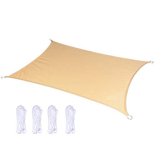 ZX Sabbia Tenda Vela Parasole Rettangolare Telo Ombreggiante Copertura Auto con Anelli Impermeabile Protezione Solare UV 95% Gazebo da Giardino Terrazza Campeggio Esterno 3m,4m,5m,6m(Size:2x4m)