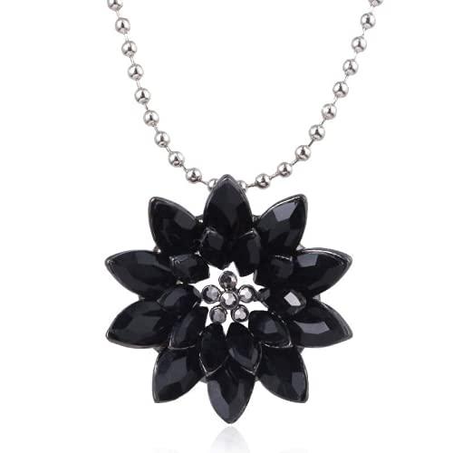 Cakunmik Black Dahlia Necklace Hero Copper Negro Dalia Collar Cristal Amor Flower Lady Colgante Regalo para El Día De San Valentín, 3,5 Cm