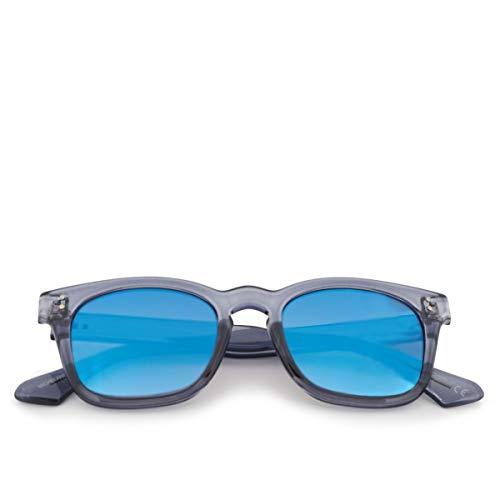 SARAGHINA, Gafas de Sol Michelangelo Cenicero Gris Lente Cristal Flash Azul, SAR_MICHELANGELO-261MGG - DA SOLE