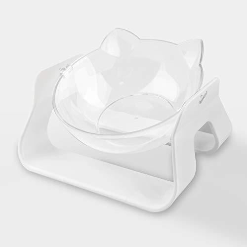 Carino Ciotola Gatto, Staccabile Trasparente Cani Pet Bowl Inclinato Rialzata Plastica Antiscivolo Superficiale Regolabile Durevole Orecchio di Gatto Rialzate Acqua Comedero Perro Cat Bowl (Bianco)
