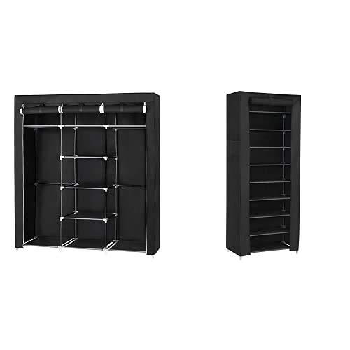 SONGMICS Armario Closet Organizador Textil Plegable Color Negro 175 x 150 x 45 cm RYG12B + Organizador De Tela De Zapatos