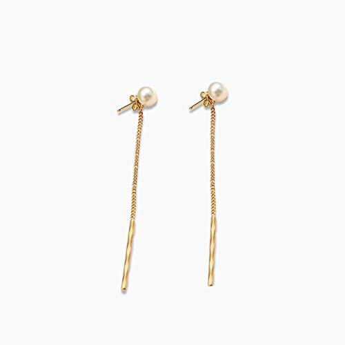 MAYL Pendientes de Perlas Mujeres Temperamento Largo Ear Joyería 14k Oro Pendientes Pendientes Mujeres (2021 New)