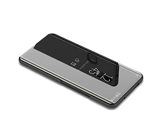DIFE Luxury Mirror Clear View Flip Custodia Cover con Funzione Kickstand per XiaoMi Mi 8 PRO - Nero