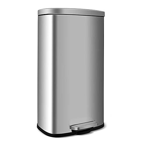 HEMBOR 8 Gallon(30L) Trash Can, Brushed Stainless Steel Rectangular Garbage Bin with Lid and Inner Buckets, Soft Step and Silent Open Close Dustbin, Suit for Home Bathroom, Kitchen and Office