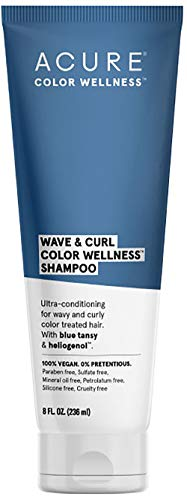 ACURE Wave & Curl Color Wellness Shampoo| 100% Vegan | Performance Driven Hair Care | Blue Tansy & Sunflower Seed Extract - Ultra-Conditioning For Wavy & Curly Color Treated Hair | 8 Fl Oz