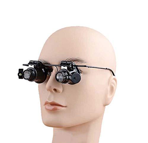 FZYQY Gafas Lupa con LED Luz,Aumento de 20X - para Leer,de Reparación Relojes,Costura,Manualidades
