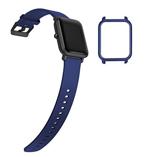 YHC Correa de Repuesto para Xiaomi Amazfit Bip/Bip Lite,con Caja de Reloj (05-Azul)