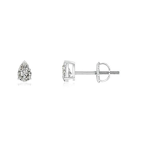 April Birthstone - Pear-Shaped Diamond Solitaire Stud Earrings in 14K White Gold (3x2mm Diamond)