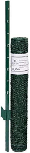 Niederberg Metall Grillage 25x25mm Rouleau 15x0,75m + 12 Poteaux 105cm Haut Vert